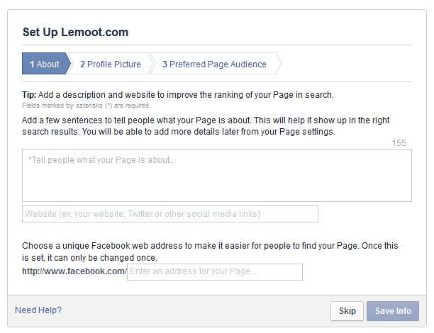 Masukkan about, web dan alamat pages