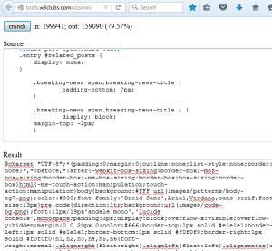 Klik Crunch untuk melakukan kompresi file CSS