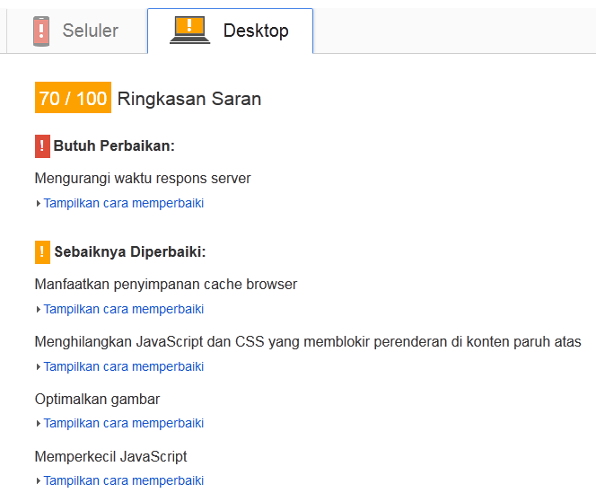 Menggunakan Google PageSpeed Insight