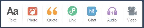 Menu post baru pada dashboard Tumblr