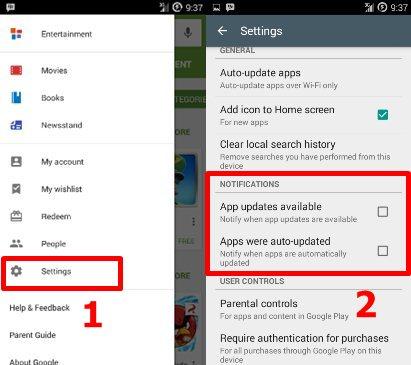 matikan notifikasi update android