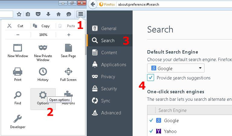 turn off search suggestions firefox