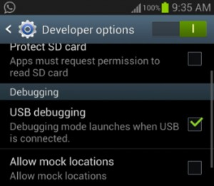 turn on usb debugging