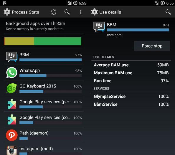 aplikasi yang berjalan, aplikasi android, menghentikan aplikasi android
