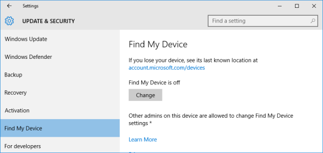 find my device windows 10