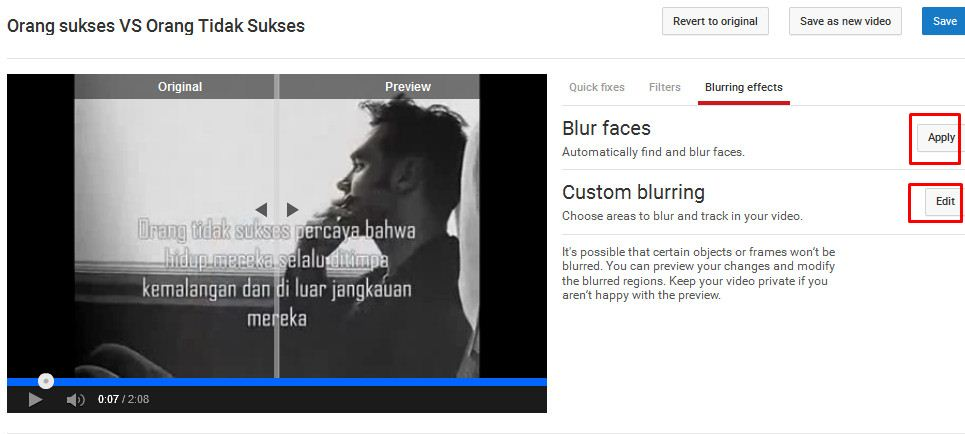 blur effect youtube