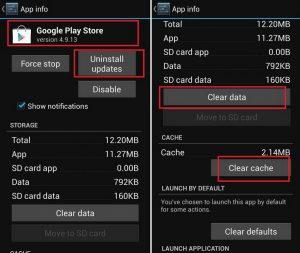 Bersihkan cache dan data Google Play