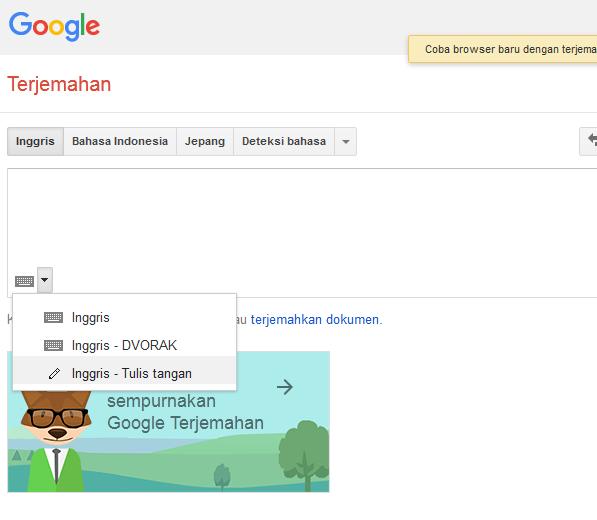 Input Tulis Tangan Google Translate