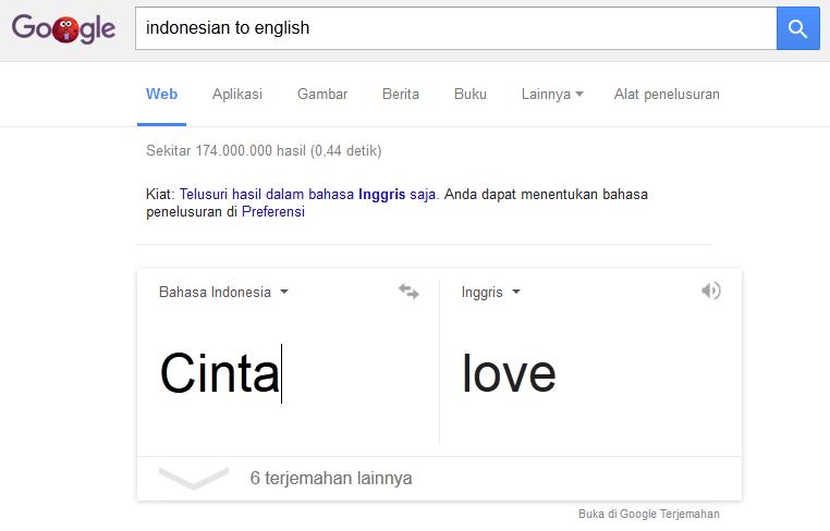 Menggunakan Google Search sebagai translator