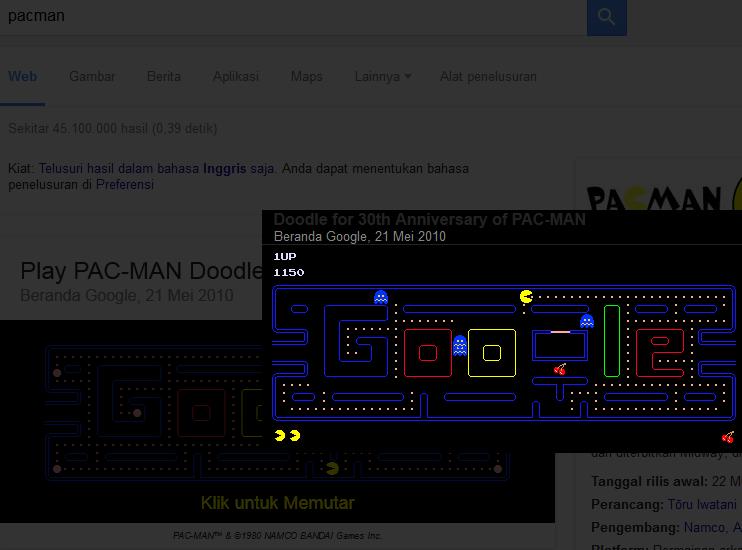 Permainan Pacman dari Google