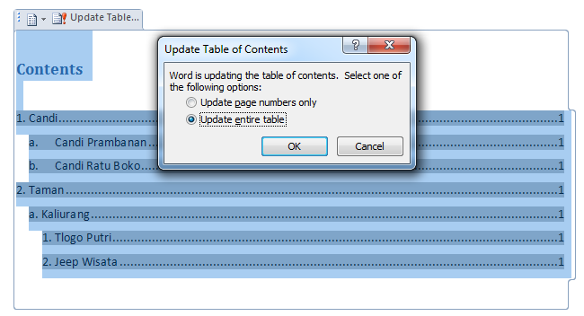 Update table untuk memperbarui nomor halaman