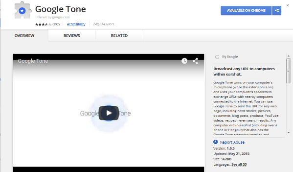 Google Tone berupa extension Google Chrome