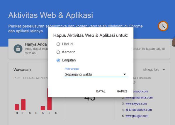 Menghapus aktivitas Web dan App sepanjang waktu