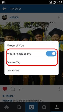 Menghapus tag Instagram