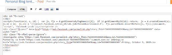 Paste kode tersebut pada blog post