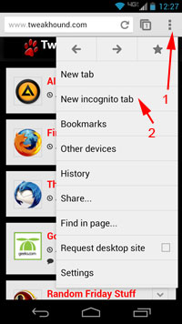 Incognito tab via tweakhound.com