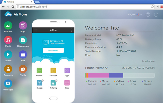 airmore transfer wifi android