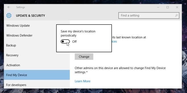 menyalakan find my device windows 10