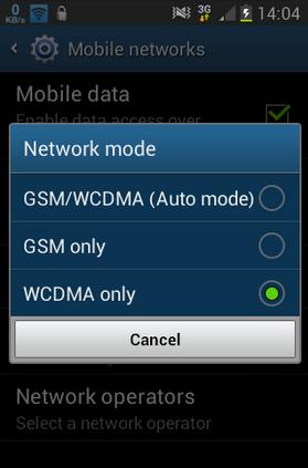 Ganti jaringan Wcdma Atau Gsm