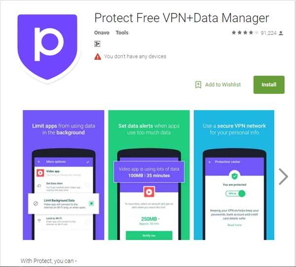 Aplikasi Protect Free VPN+ Data Manager
