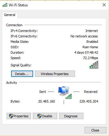 cara mengetahui wifi windows 10