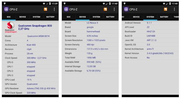 CPU-Z, aplikasi cek tipe hp