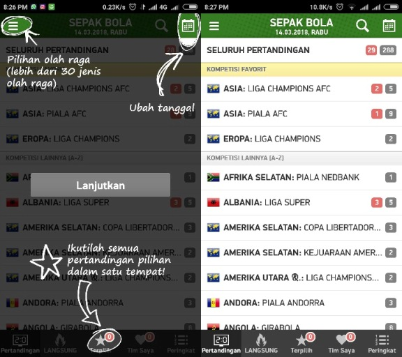 Menu Utama FlashScore ID