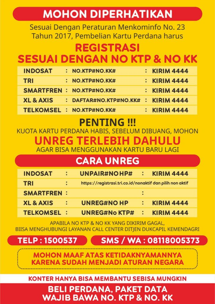 Cara unreg registrasi paket data internet
