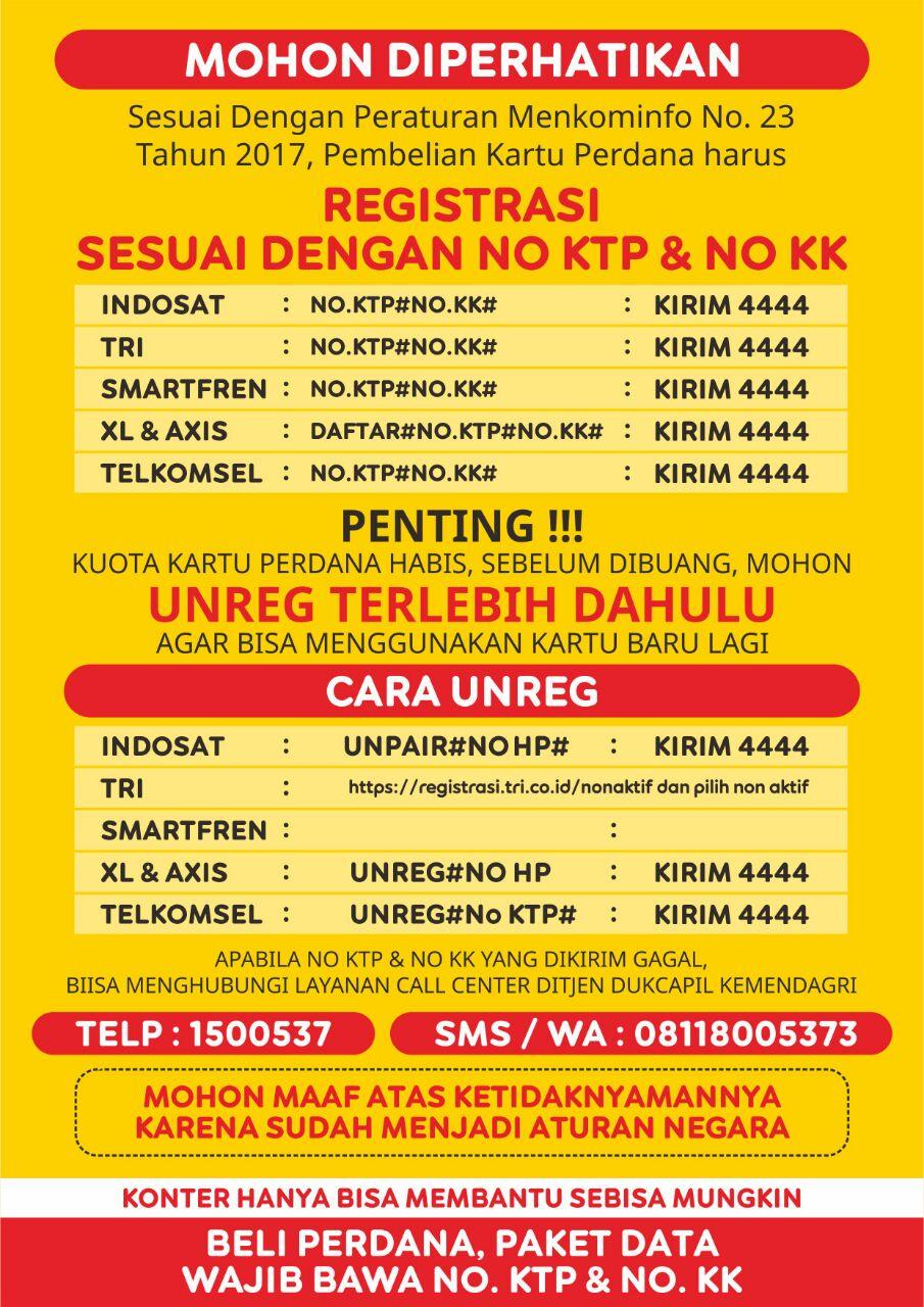 Cara Unreg Registrasi Kartu Indosat, Telkomsel, Three, Axis dan XL  LemOOt