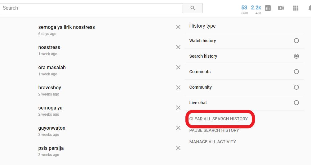 cara hapus riwayat pencarian youtube