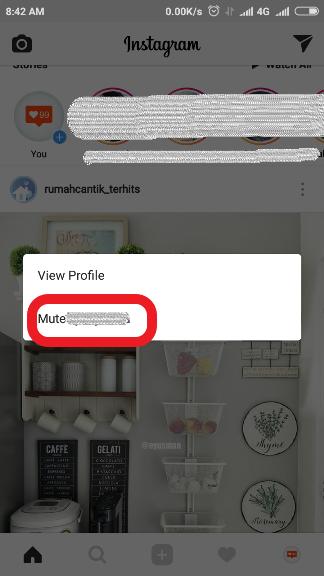 cara mute story instagram